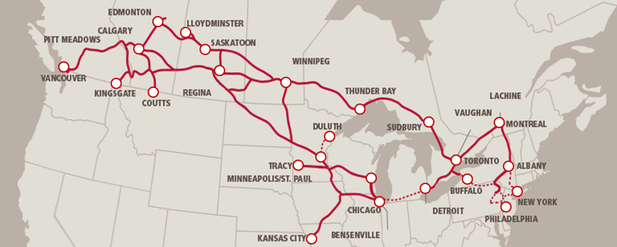 Canadian Rail lines Map